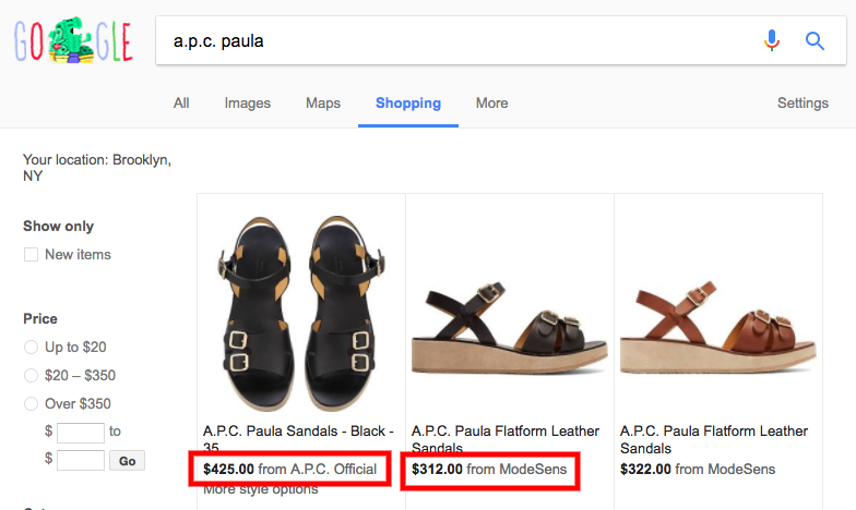A.P.C. Paula Flatforms Google Shopping Search