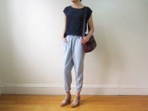 Chambray Striped Pants on Model