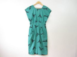 Vintage Green 50s Eyelash Printed Dress