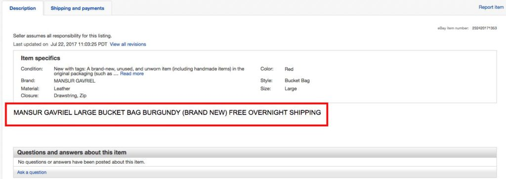 Mansur Gavriel Red Bucket Bag eBay Listing