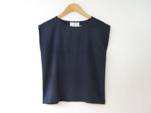 Vintage Navy Blue Silk Top