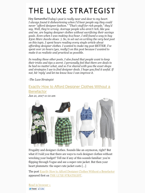 The Luxe Strategist newsletter example