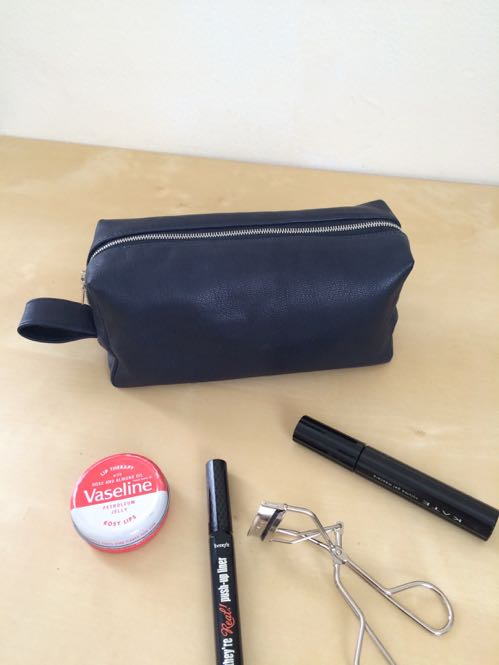 Handmade leather dopp kit / makeup bag