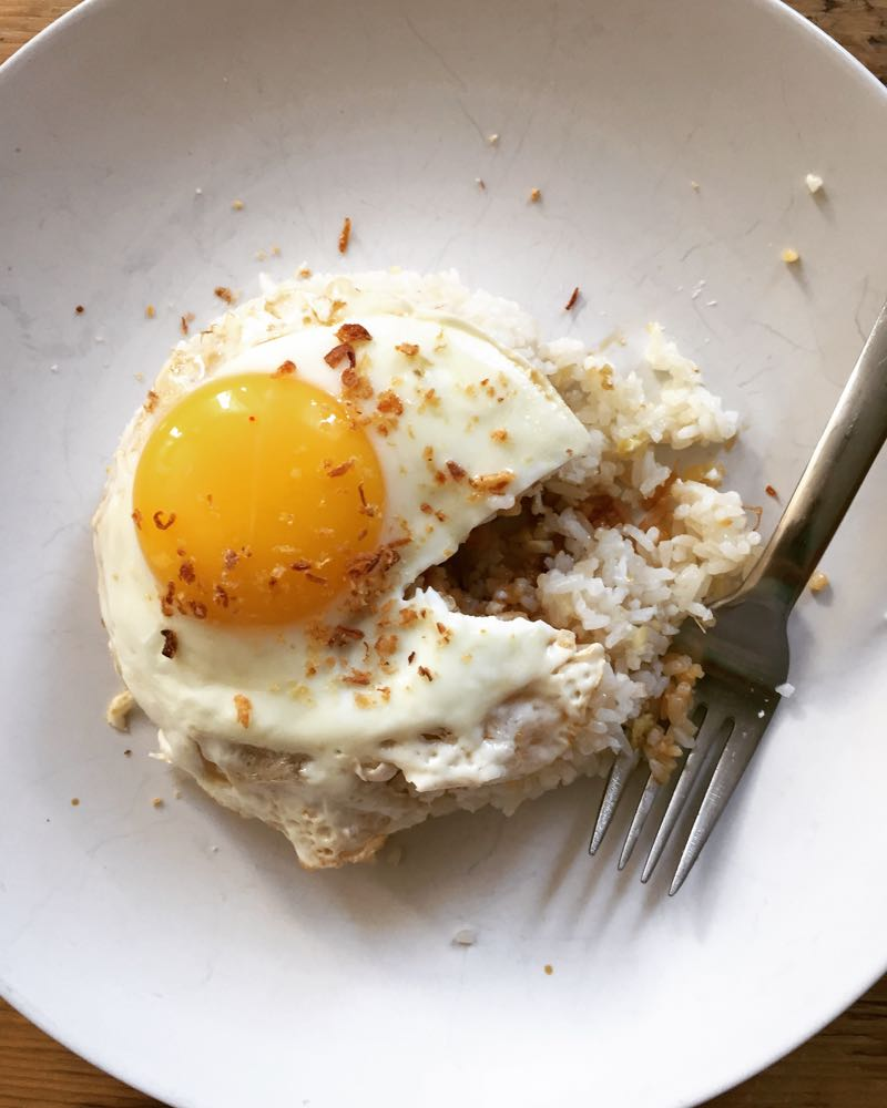 Ginger fried rice with fried egg