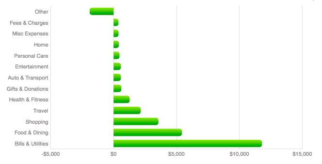 Mint Annual Spending Bar Chart