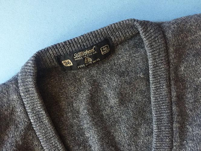 Vintage Grey Wool V-Neck Sweater