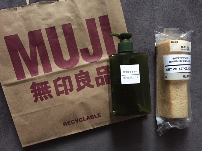 Muji refill bottle and sweet potato cake
