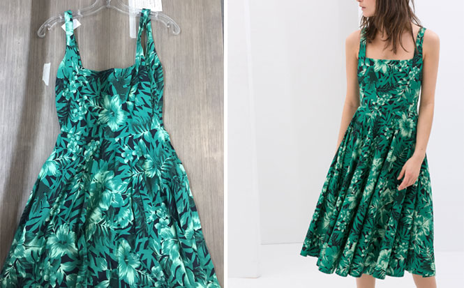 Zara Green Tropical Sundress