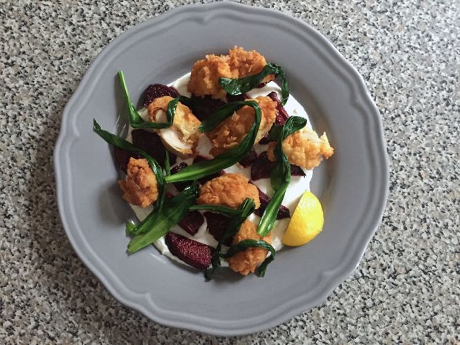 Fried Chicken with Beets