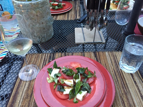 Outdoor dining - caprese salad