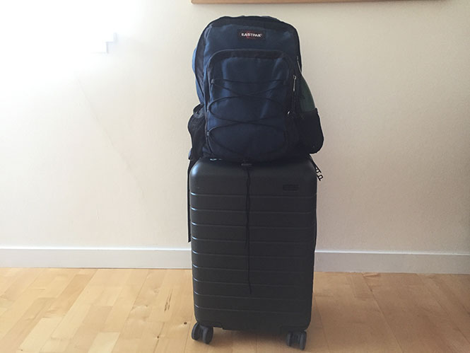 Iceland Summer Packing List: Away Carry-On Suitcase and Eastpak Backpack