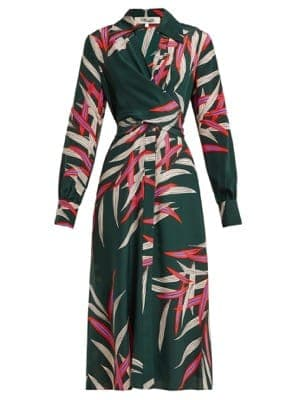 Diane Von Furstenberg Silk Printed Wrap Dress