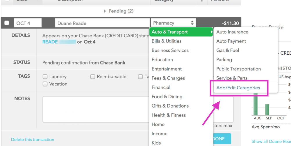 How to add and edit categories in Mint