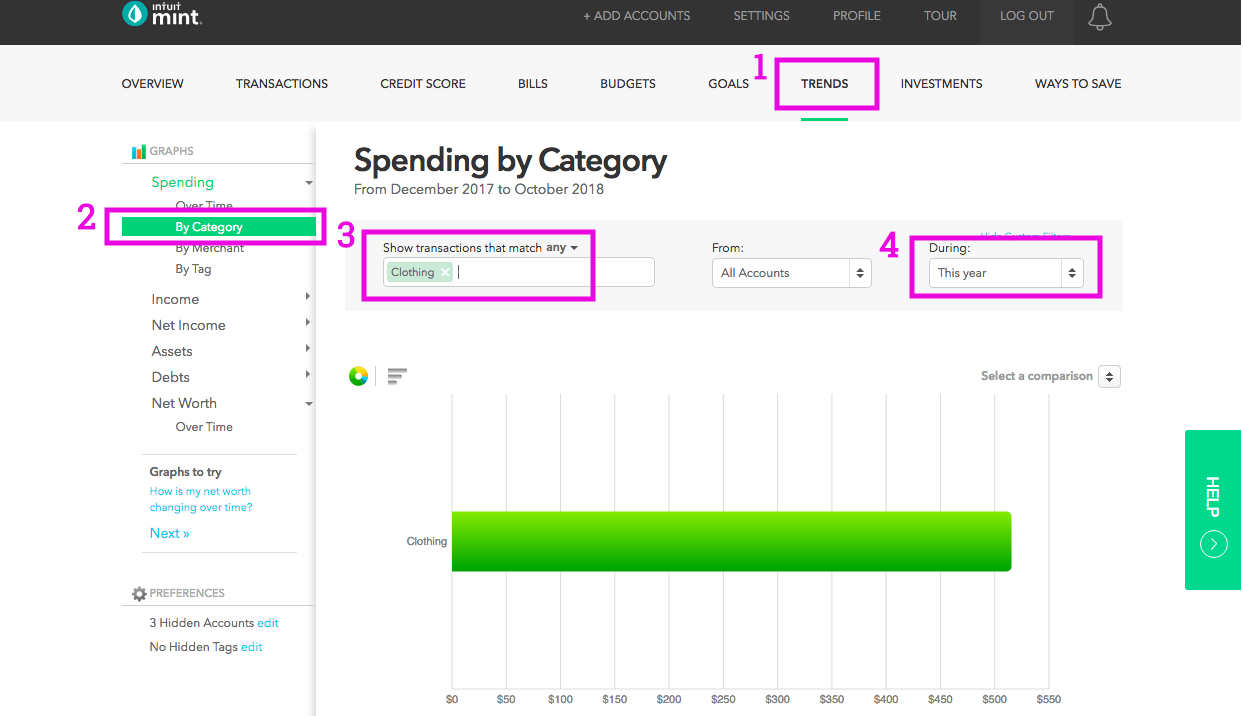 How to check category spending in Mint