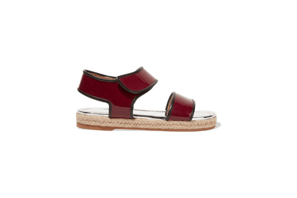 Marni Double Band Patent Burgundy Espadrille Sandals