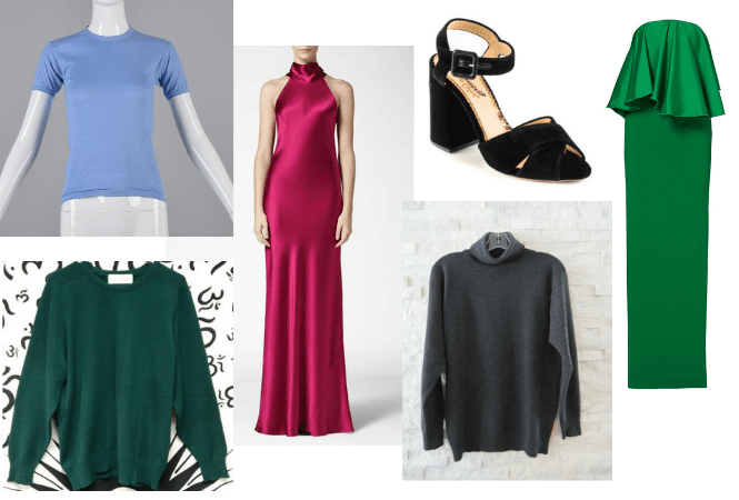 eBay - Secondhand Picks: Vintage dusty blue T-shirt, Galvan pink silk halter dress, Charlotte Olympia Emma velvet sandal heels, Solace of London green strapless ruffle dress, vintage Tse cashmere turtleneck sweater, vintage green Scotland cashmere sweater