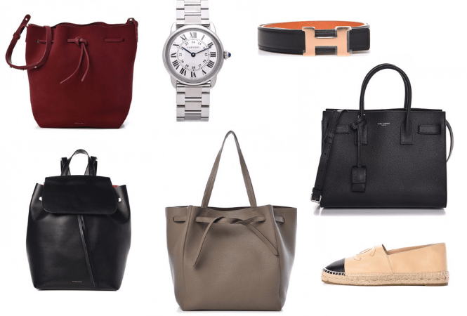 Fashionphile Secondhand Finds - Mansur Gavriel suede bucket bag, Cartier Ronde Solo watch, Hermes belt, Saint Laurent baby Sac de Jour black bag, Chanel lambskin espadrilles, Celine taupe belt Phantom cabs bag, Mansur Gavriel black backpack