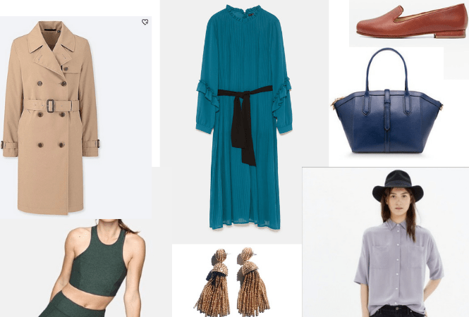 Poshmark Secondhand Finds - Uniqlo trench, Zara blue pleated jumpsuit, Nisolo smoking loafers, J. Crew Tartine bag, Madewell silk courier shirt, Bauble Bar gold tassel earrings, Outdoor Voices hunter green Athena crop top