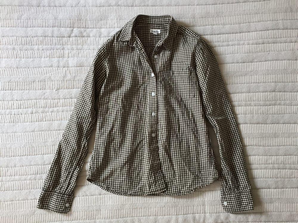 Steven Alan Gingham Beige Shirt