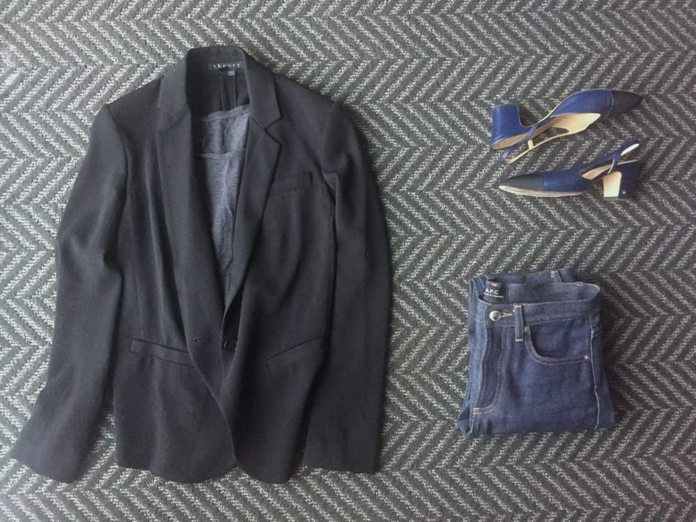 How to Dress for Work: Blazer and Jeans with Chanel slingbacks