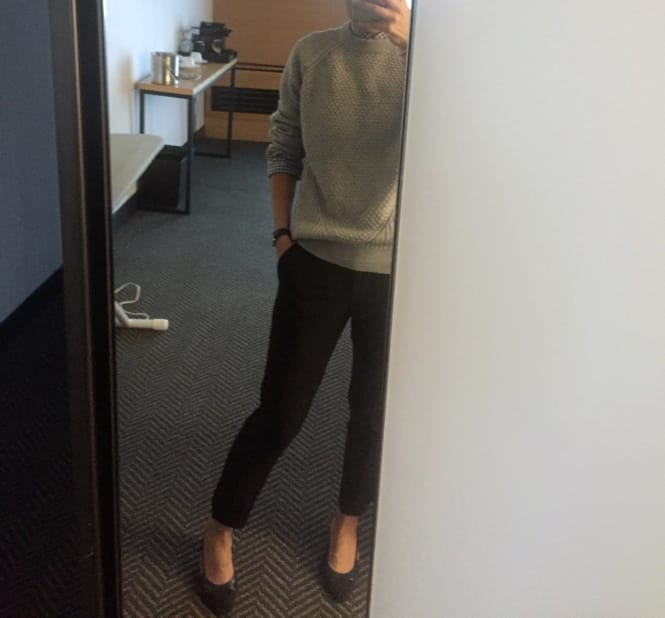 Business Casual Outfit - Sweater, cropped pants, Chanel slingbacks