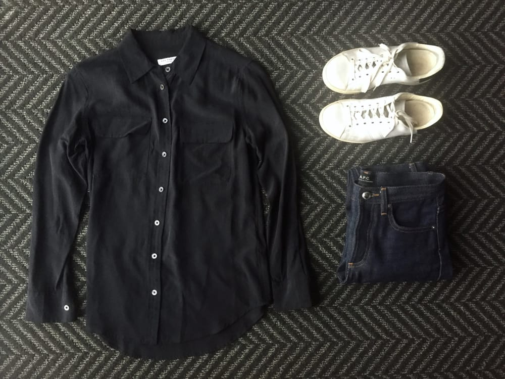 Casual Friday outfit: Equipment silk blouse, raw jeans, white sneakers
