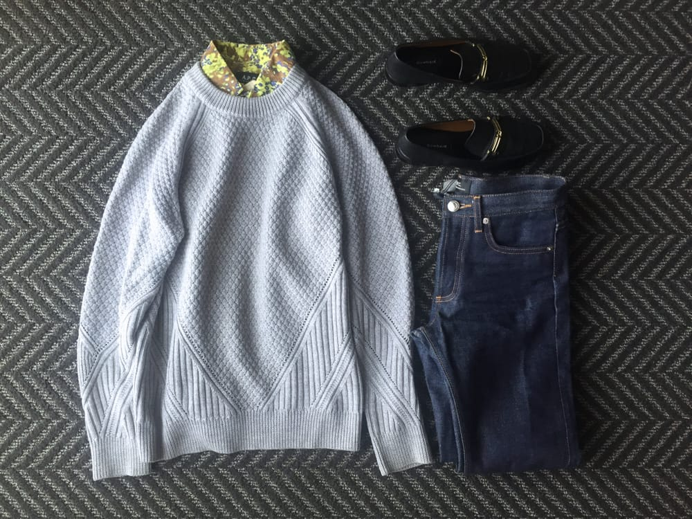 Business casual outfit: sweater, jeans, loafers