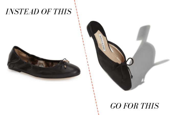 Business casual: Wear almond-toed flats instead of round-toe flats