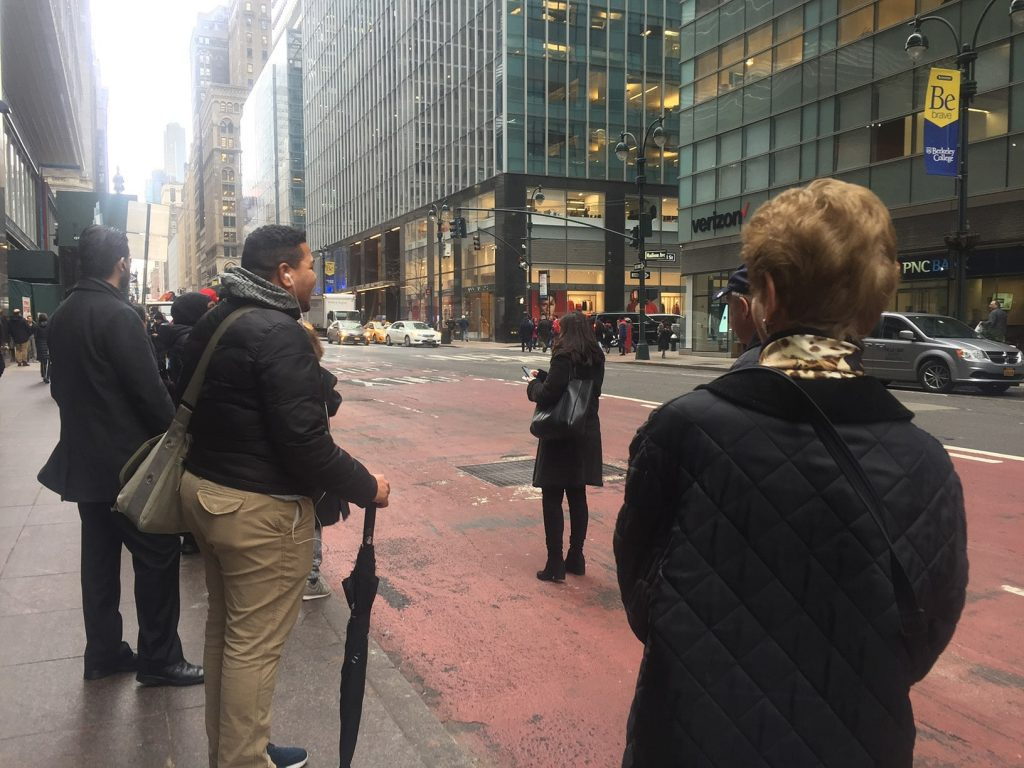 Waiting for the bus in NYC