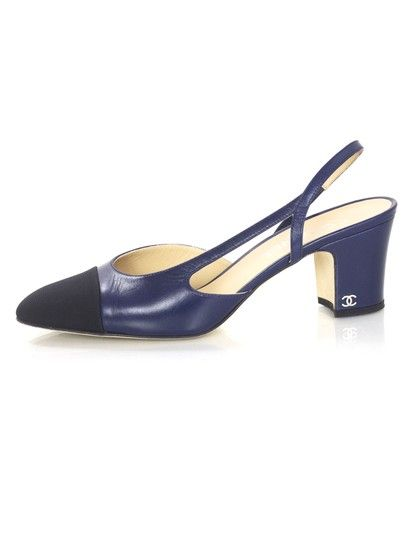Chanel Slingback Heels in Navy and Black