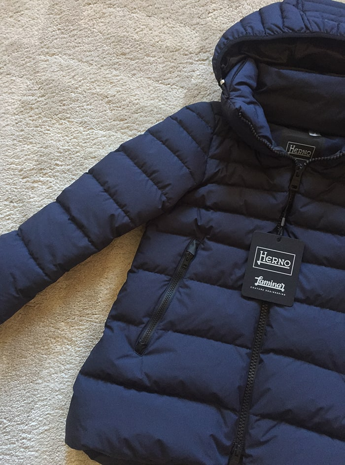 Herno Navy Blue Hi-Lo Windstopper Down Jacket
