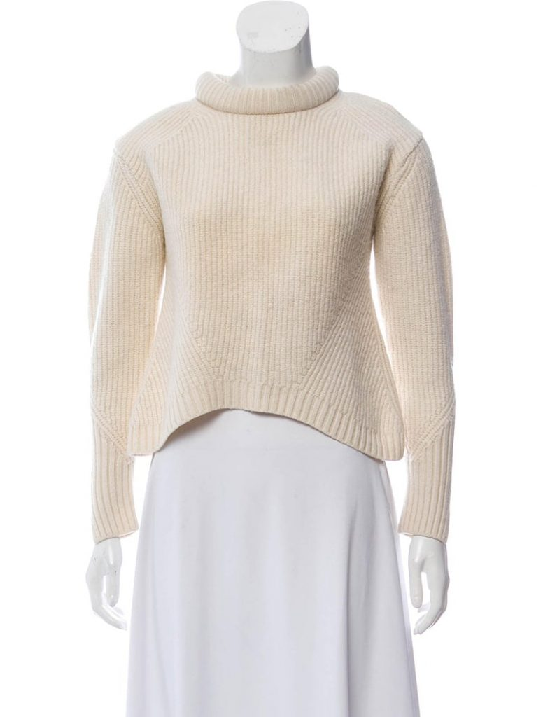 3.1 Phillip Lim Cream Wool Mockneck Sweater