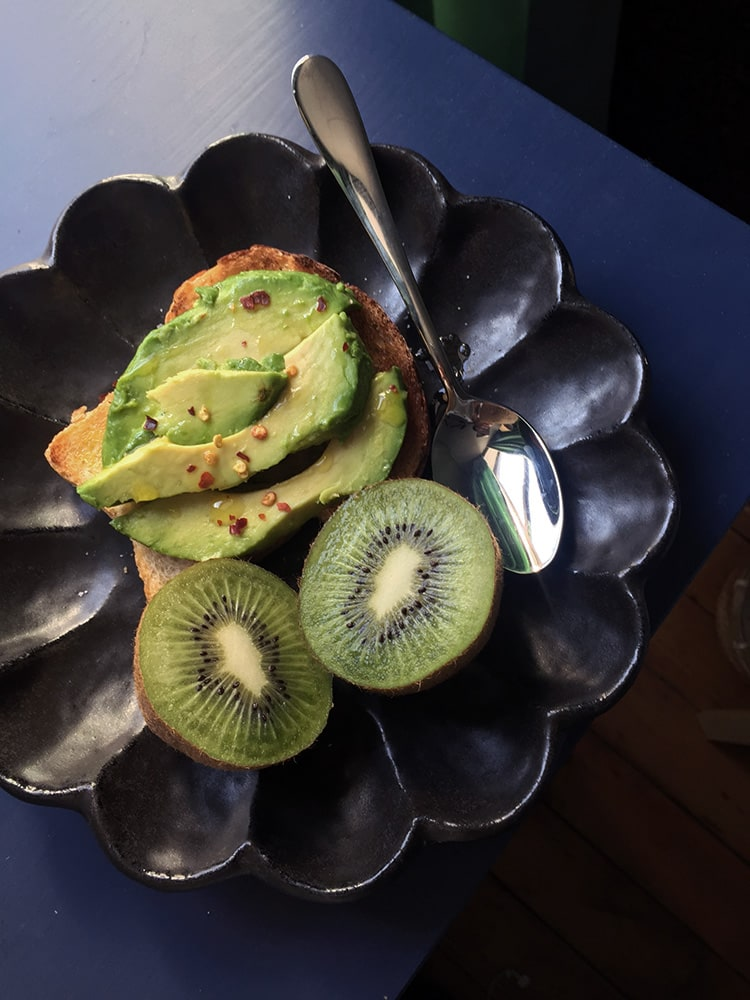 Avocado Toast with Kiwi Breakfast