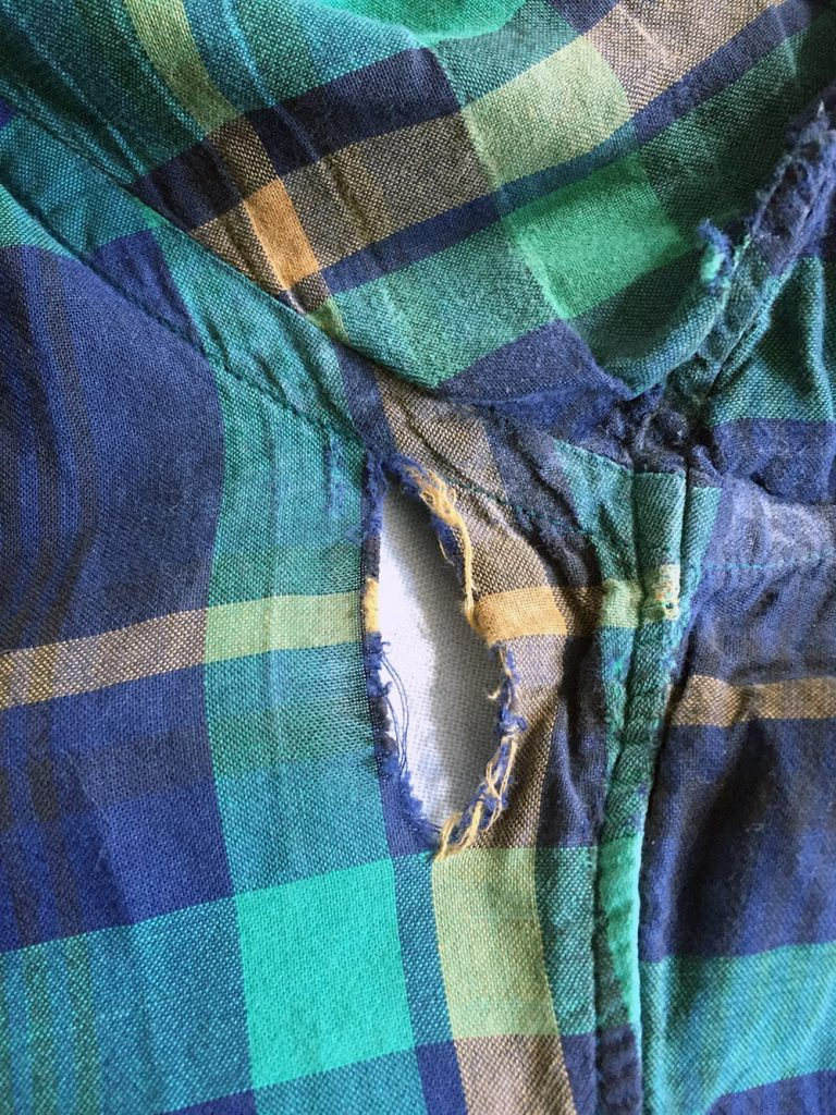 Hole in Plaid J. Crew Shirt