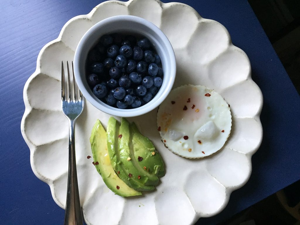 Egg, avocado and blueberry breakfast